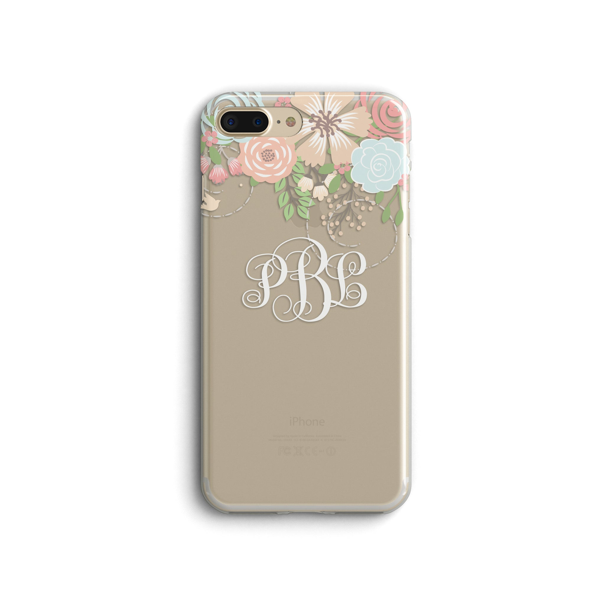 iPhone Case Clear Rubber Samsung Galaxy - Monogram Floral Case