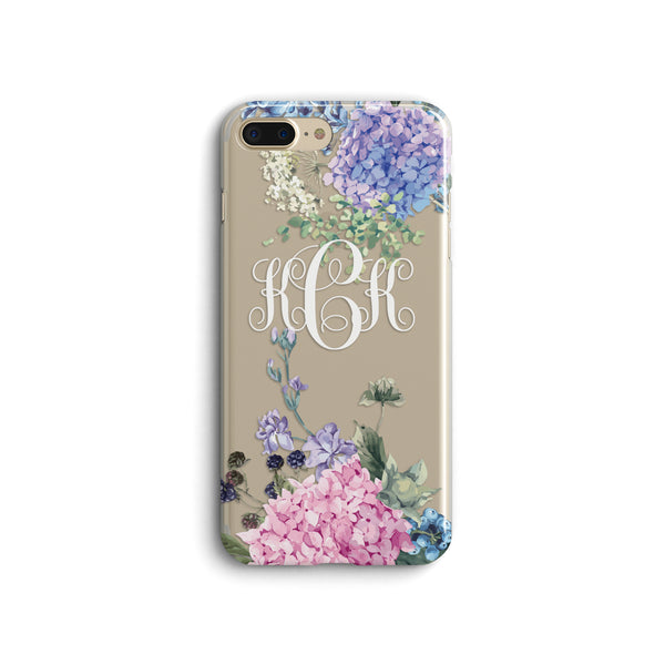 iPhone Case Clear Rubber Samsung Galaxy - Monogram Hydrangea Case
