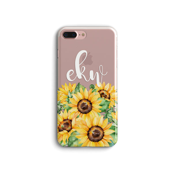 iPhone Case Clear Rubber Samsung Galaxy - Initial Sunflower Case
