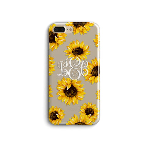 iPhone Case Clear Rubber Samsung Galaxy - Monogram Sunflower Case