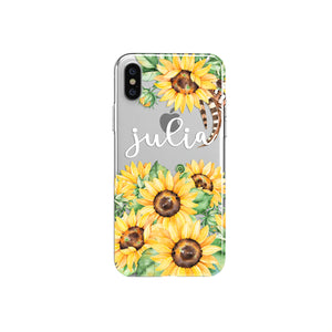 iPhone Case Clear Rubber Samsung Galaxy - Personalized Sunflower Case