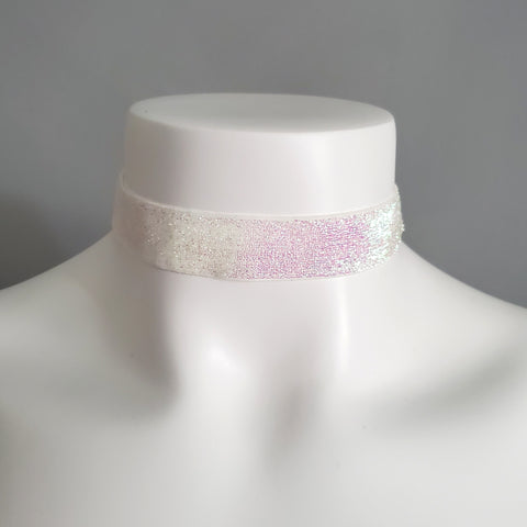 Iridescent Sparkly Glitter Choker Necklace White for Rave Festival Fairy Unicorn Style