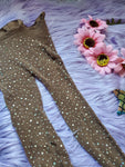 rave fishnet tights mocha colored with all over sparkly rhinestone crystals