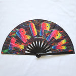 large folding bamboo rave fan purple black with fan-fucking-tastic text