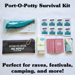 rave potty camping gift survival kit with carrying case, wet wipes, light, style