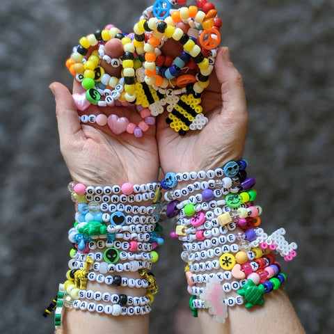 Kandi beaded bracelets and perlers for rave outfits accessories