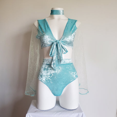 Light Blue Crushed Velvet Wrap Top with Long Sleeves and High Waist Rave Bottoms for Festival Outfit Rave Clothing