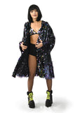 Black Sequin Rave Kimono Jacket made of Sequins Bra Panty Tights Rave Outfit Music Festival