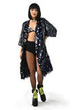 black sequin rave kimono for music festivals