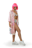 pink sequin kimono for raves or music festivals