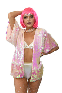 Short Pink Sequin Jacket with Short Sleeves and Iridescent Color