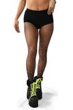 black rhinestone fishnet tights crystal hosiery for rave music festival coachella edc