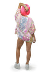 Short Pink Sequin Jacket with Short Sleeves and Iridescent Color for Rave Outfit