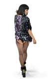 Short Black Iridescent Sequin Kimono for Rave