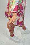Rainbow Embroidered Mesh Kimono for Rave or Music Festival with Pockets and Lining Trippy Acid Drip Design