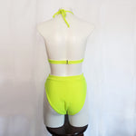 eco friendly rave outfit in neon green with recycled sequins