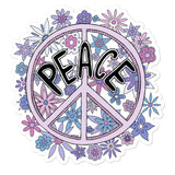 Purple and Lilac Peace Sign with Floral Design Hippy Inspired Vinyl Sticker