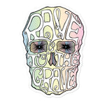 Pastel Rainbow Colored Skull Sticker with Rave to the Grave Text on Vinyl Sticker