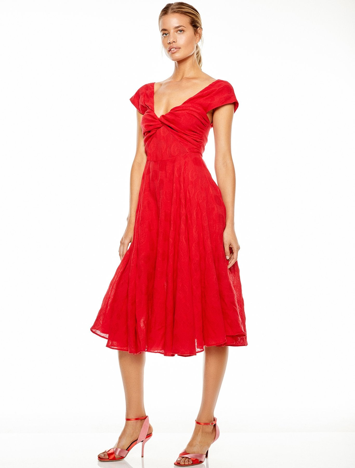 RUBY RED MIDI DRESS