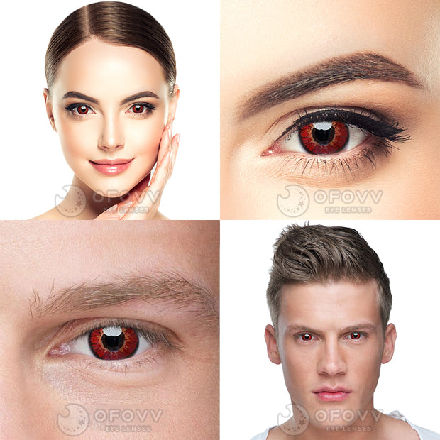 Ofovv® Eye Circle Lens Elf Red Naruto Sharingan Colored Contact Lenses V6142(1 YEAR)