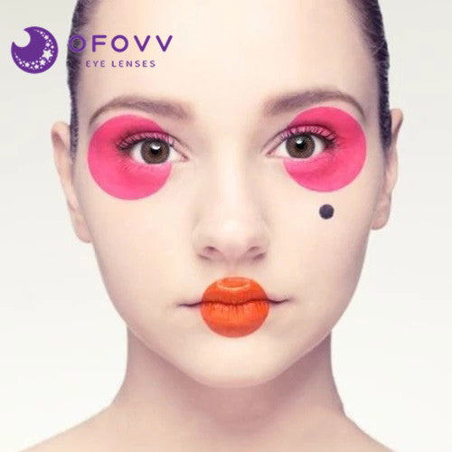 Ofovv® Eye Circle Lens Amber Pink Colored Contact Lenses V6201(1 YEAR)