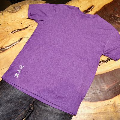 Be thoughtful, Neugroove inspirational logos placed as gentle reminders on this fitted tshirt - Heathered Purple