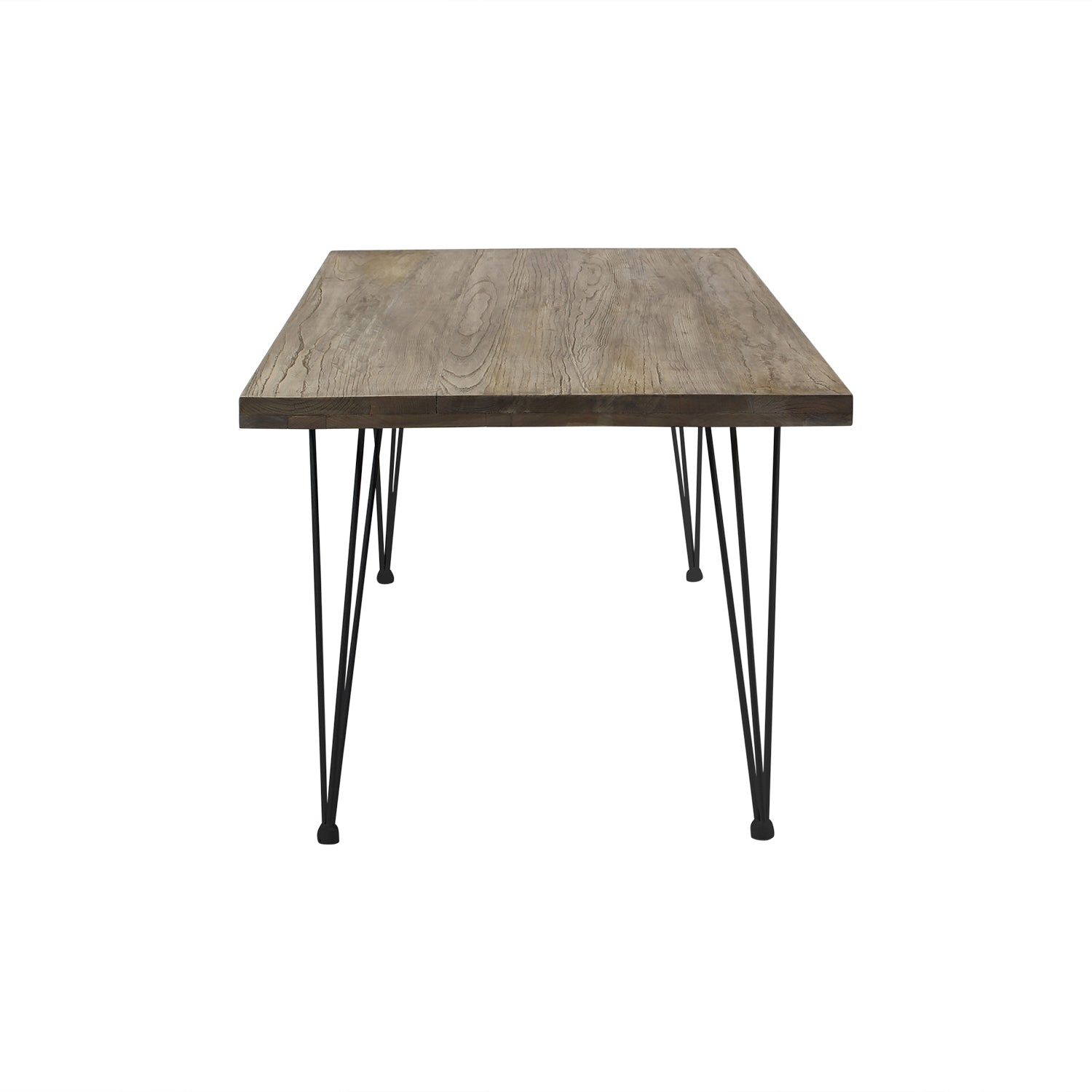Bo Large Elmwood Dining Table With Hairpin Legs Wudern