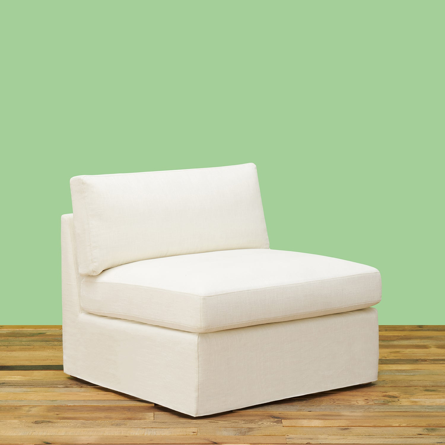 Broome Armless White Linen Lounge Chair