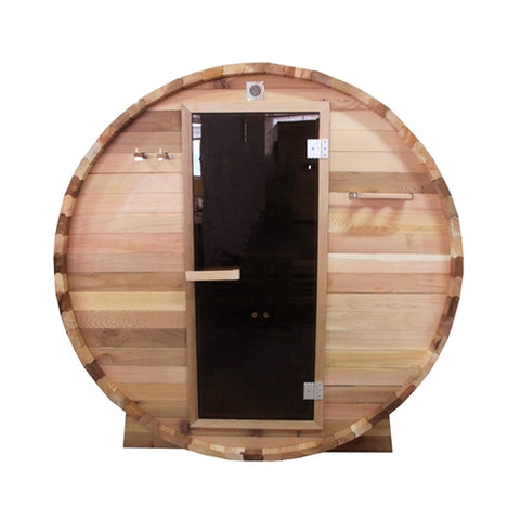 Outdoor or Indoor Rustic Western Red Cedar Wet Dry Barrel Sauna - 6kW ETL Certified Heater - 6 person - Jet Springs