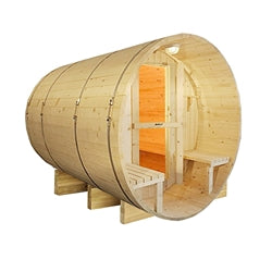 Outdoor or Indoor White Finland Pine Wet Dry Barrel Sauna - Front Porch Canopy - 9 kW ETL Certified Heater - 8 Person - Jet Springs