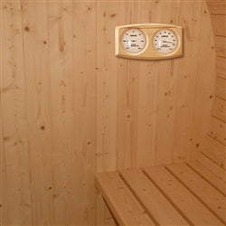 Image of Outdoor or Indoor White Finland Pine Wet Dry Barrel Sauna - Front Porch Canopy - 9 kW ETL Certified Heater - 8 Person - Jet Springs