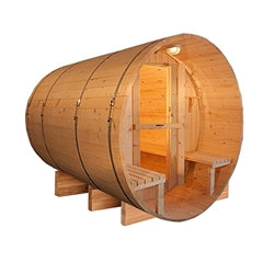 Image of Outdoor or Indoor Western Red Cedar Wet Dry Barrel Sauna - Front Porch Canopy - 9 kW ETL Certified Heater - 8 Person - Jet Springs