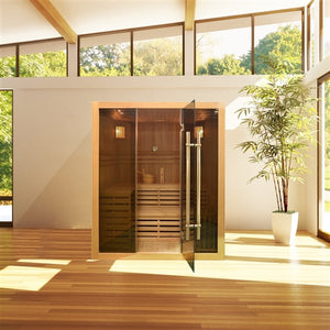 Canadian Hemlock Indoor Wet Dry Sauna - 4.5 kW ETL Certified Heater - 4 Person (larger) - Jet Springs