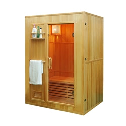 Canadian Hemlock Indoor Wet Dry Sauna - 3 kW ETL Certified Heater - 3 Person - Jet Springs