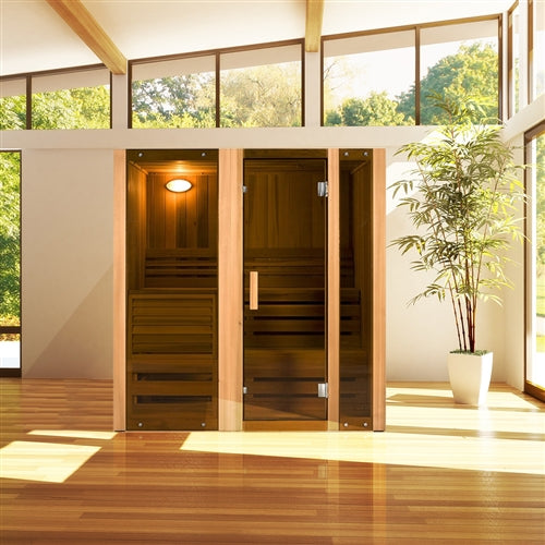 Canadian Cedar Indoor Wet Dry Sauna Steam Room - 3 kW ETL Certified Heater - 3 Person - Jet Springs