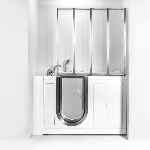 "Aegis 4-fold 1/8"" (3mm) Tempered Glass Shower Screen for Walk-In Tubs 44""x42""CHROME - Jet Springs"