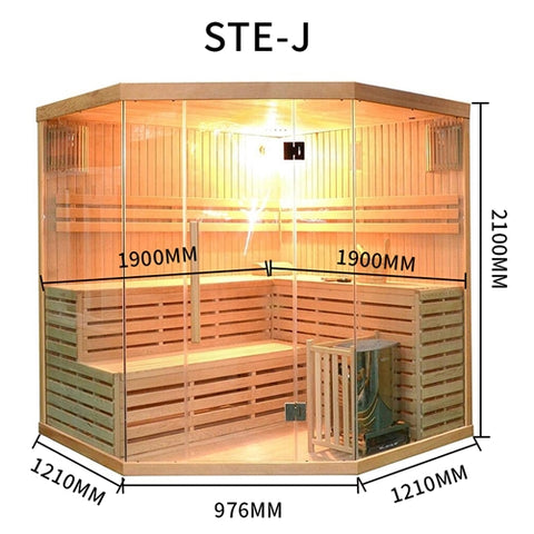 Canadian Hemlock Indoor Wet Dry Sauna - 6 kW ETL Certified Heater - 5 to 6 Person - Jet Springs
