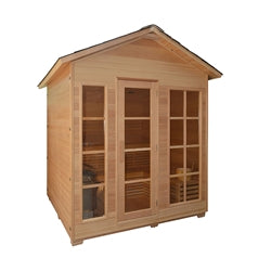 Image of CED6IMATRA 4 Person Canadian Red Cedar Wood Outdoor and Indoor Wet Dry Sauna with 4.5 kW ETL Electrical Heater - Jet Springs