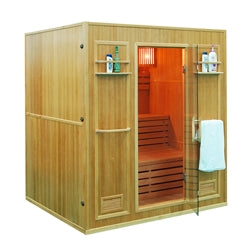 Aleko CEDN4BUG 4 Person Canadian Red Cedar Wood Indoor Wet Dry Sauna with 4.5 kW ETL Electrical Heater - Jet Springs