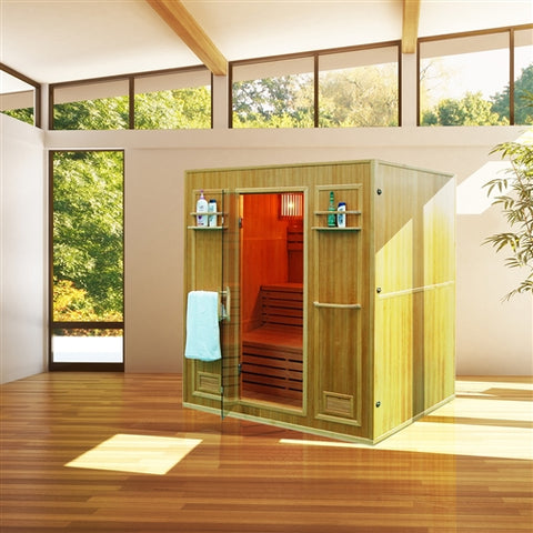 Image of Aleko CEDN4BUG 4 Person Canadian Red Cedar Wood Indoor Wet Dry Sauna with 4.5 kW ETL Electrical Heater - Jet Springs