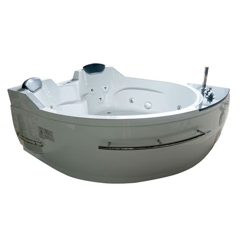 EAGO AM113ETL-R 5.5 ft Right Corner Acrylic White Whirlpool Bathtub for Two - Jet Springs