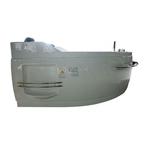 Image of EAGO AM113ETL-R 5.5 ft Right Corner Acrylic White Whirlpool Bathtub for Two - Jet Springs