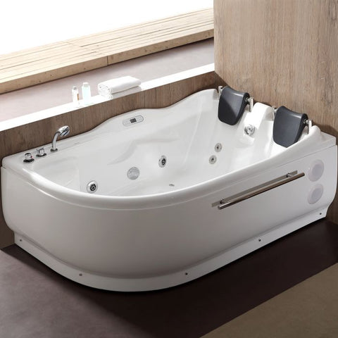 EAGO AM124ETL-L 6 ft Left Corner Acrylic White Whirlpool Bathtub for Two - Jet Springs