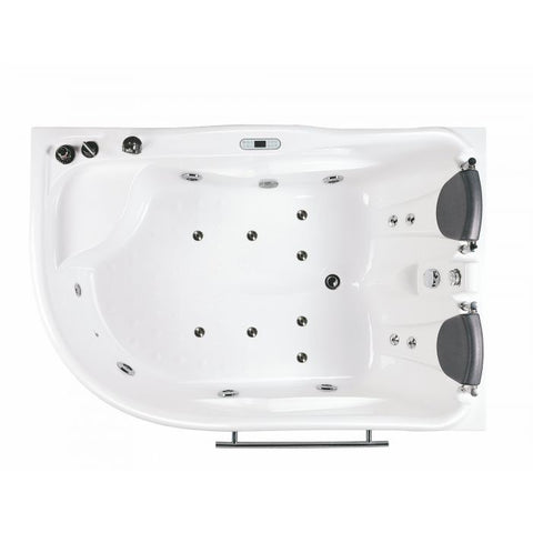 Image of EAGO AM124ETL-L 6 ft Left Corner Acrylic White Whirlpool Bathtub for Two - Jet Springs