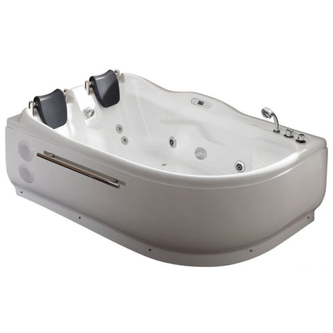 EAGO AM124ETL-R 6 ft Right Corner Acrylic White Whirlpool Bathtub for Two - Jet Springs