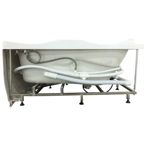 Image of EAGO AM125ETL 5 ft Corner Acrylic White Whirlpool Bathtub for Two w Fixtures - Jet Springs