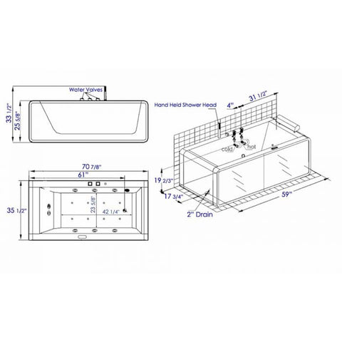 Image of EAGO AM151ETL-L 6 ft Rectangular Acrylic Left Drain Whirlpool Bathtub - Jet Springs