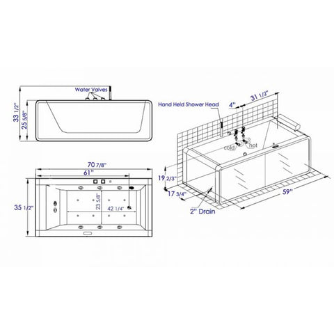 Image of EAGO AM151ETL-R 6 ft Rectangular Acrylic Right Drain Whirlpool Bathtub - Jet Springs