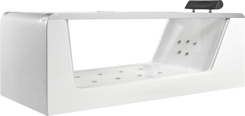 Image of EAGO AM152ETL-6 6 ft Clear Rectangular Acrylic Whirlpool Bathtub - Jet Springs