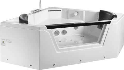 EAGO AM156ETL 5 ft Clear Corner Acrylic Whirlpool Bathtub for Two - Jet Springs